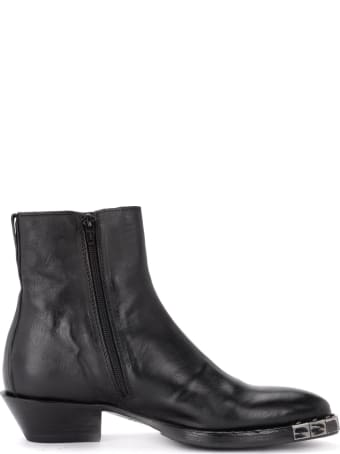 Moma Stella Preto Texan Ankle Boot Made Of Black Leather