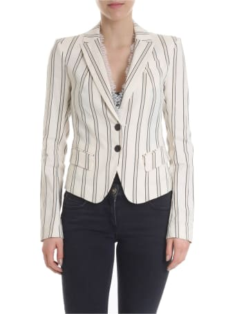 Patrizia Pepe Lace Insert Striped Jacket