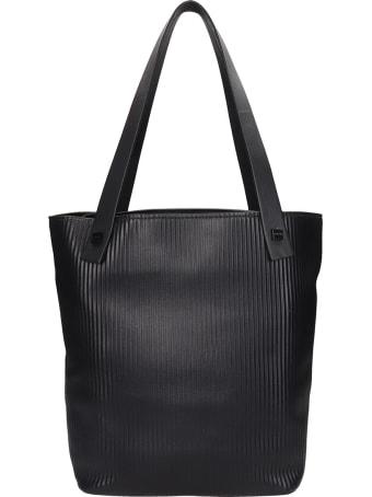 Visone Jane Striato Tote In Black Leather