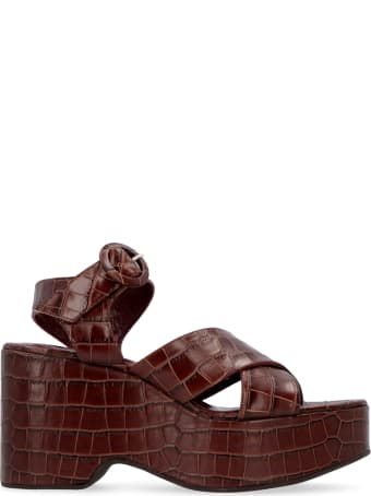 STAUD Jane Leather Wedge Sandals