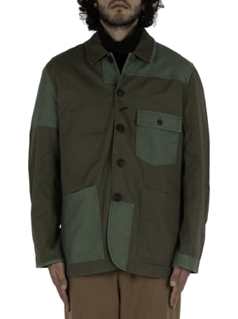 Universal Works Patched Mill Bakers Jacket In Twill Mix - Green