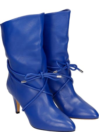 Isabel Marant Llilda High Heels Ankle Boots In Blue Leather