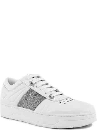 Jimmy Choo White Calf Leather Lace-up Trainers