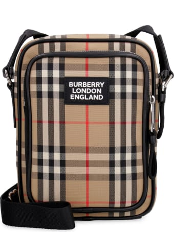 Burberry Messenger Bag With Check Motif