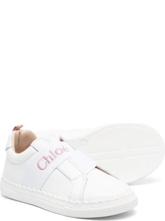 Chloé Kid White Sneakers With Chloe' Elastic Band