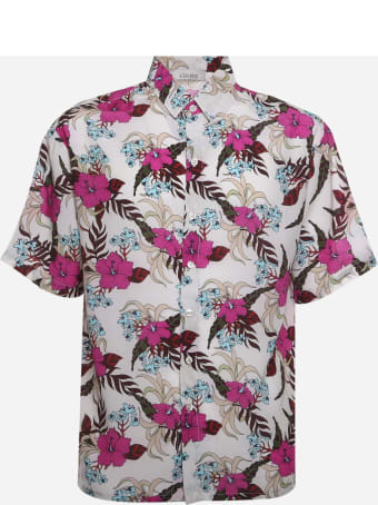 Laneus Hibiscus Bowling Shirt With All-over Print