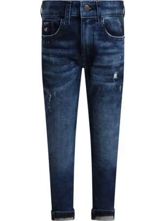 Calvin Klein Blue Jeans For Boy With Logo