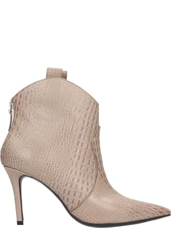 Lola Cruz High Heels Ankle Boots In Taupe Leather