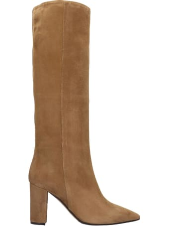 The Seller Boots In Beige Suede