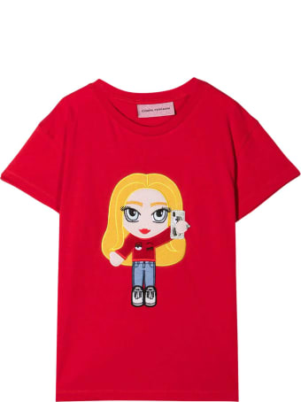 Chiara Ferragni Red Cotton Graphic Print Short-sleeved T-shirt From