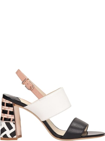 Sophia Webster Celia Black White Leather  Sandals