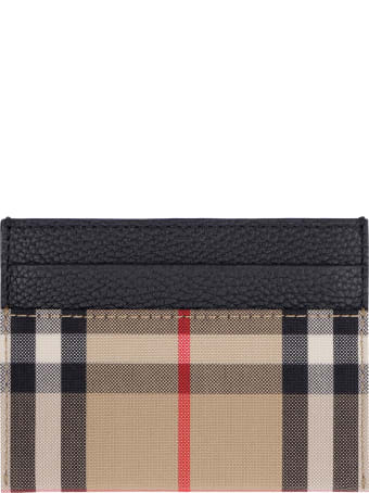 Burberry Leather And Checked Fabric Card Holder
