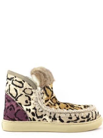 Mou Eskimo Sneaker Big Leopard Sand Ponyskin