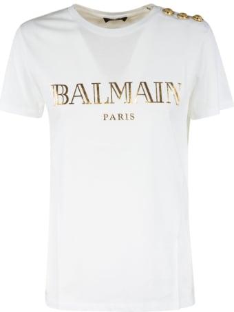 Balmain Logo Metallic Print T-shirt