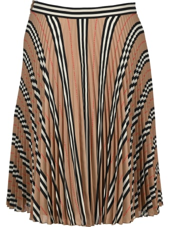 Burberry London Striped Pleated Skirt