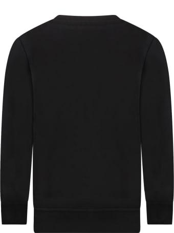 MSGM Black Sweatshirt For Kids With Logo