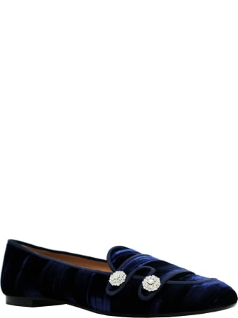 Aquazzura Midnight Blue Velvet Astor Loafer