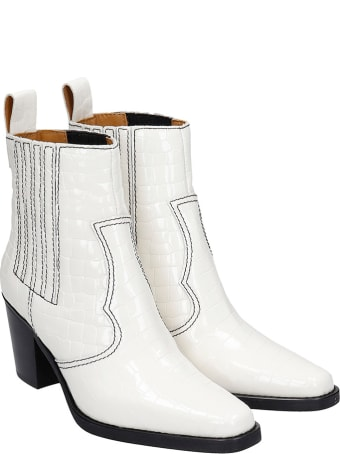 Ganni High Heels Ankle Boots In White Leather