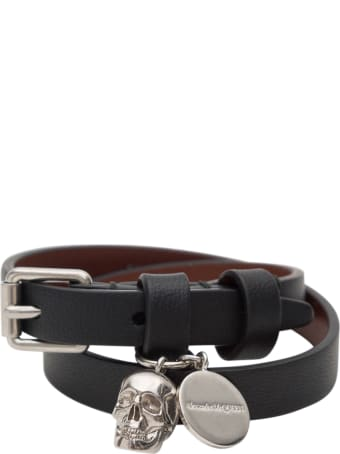Alexander McQueen Double Wrap Bracelet With Skull