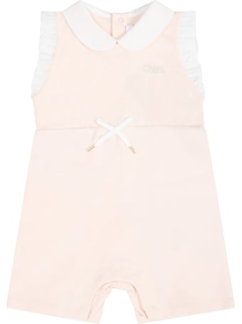 Chloé Pink Romper For Babygirl With Logo