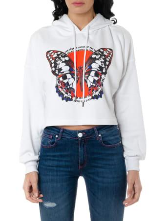 Frankie Morello White Cropped Cotton Sweatshirt With Print
