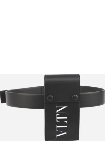 Valentino Garavani Cell Phone Holder In Leather With Contrasting Logo