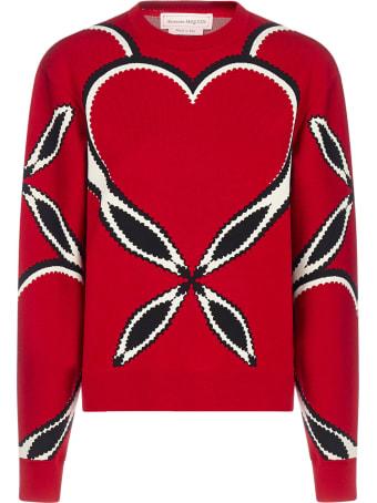 Alexander McQueen Heart-motif Intarsia Viscose-knit Sweater