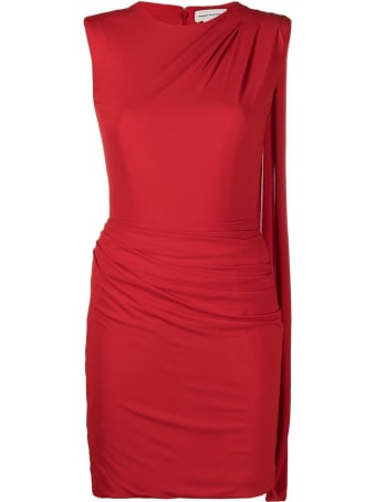 Alexander McQueen Red Dress With Asymmetrical Draping