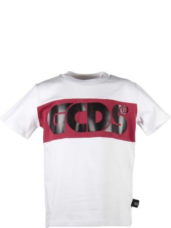 GCDS White Logo Jersey Cotton T-shirt