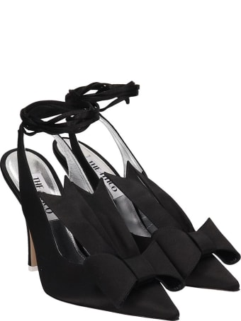 The Attico Sling Back Sandals In Black Satin