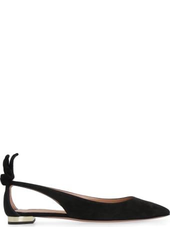Aquazzura Bow Tie Ballet Suede Ballet Flats