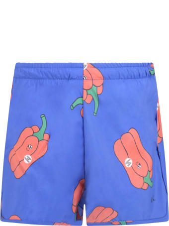 Bobo Choses Blue Swimsuit For Boy With Peppers