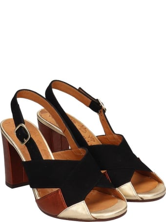 Chie Mihara Benita Sandals In Black Suede And Leather