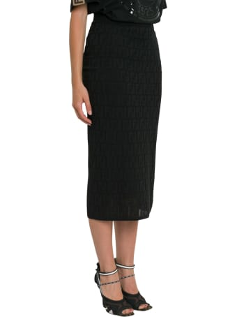 Fendi Ff Knitted Straight-cut Longuette Skirt