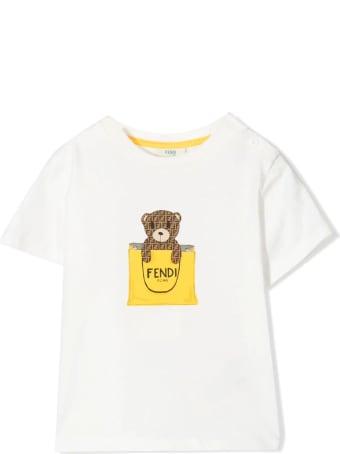 Fendi White Stretch Cotton T-shirt
