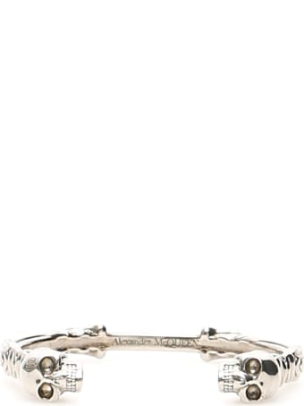 Alexander McQueen Textured Double Skull Bracelet