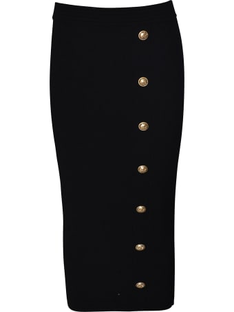 Balmain Embellished Button Skirt