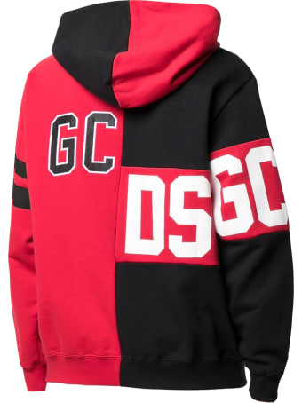 GCDS Red And Black Cotton Hoodie