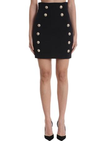 Balmain Skirt In Black Wool