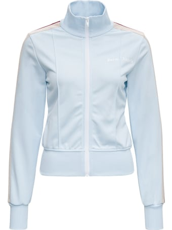 Palm Angels Light Blue Sweatshirt With Multicolor Side Bands