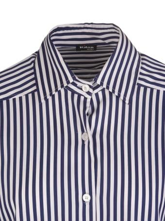 Kiton Navy Blue/white Cotton-blend Striped High-low Shirt