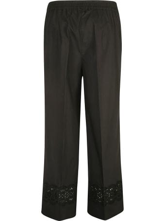 Parosh Perforated Floral Applique Trousers