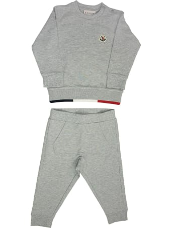 Moncler Logo Patch Tracksuit Set Grey
