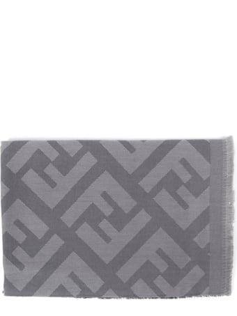 Fendi Monogram Grey Wool & Cashmere Shawl