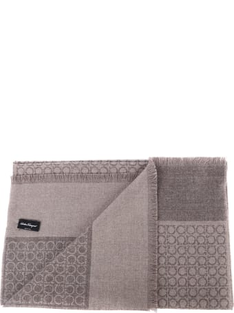 Salvatore Ferragamo Gancini Print Wool Scarf
