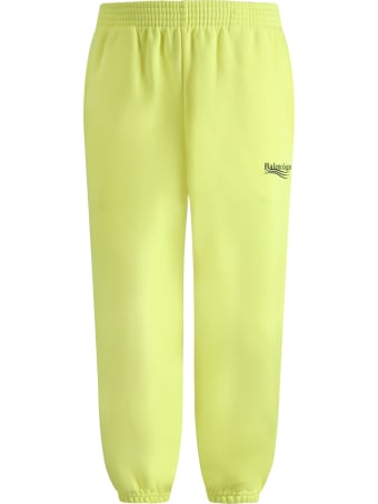 Balenciaga Neon Yellow Sweatpants For Kids With Logo