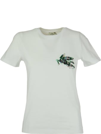 Etro T-shirt With Embroidered Pegago White