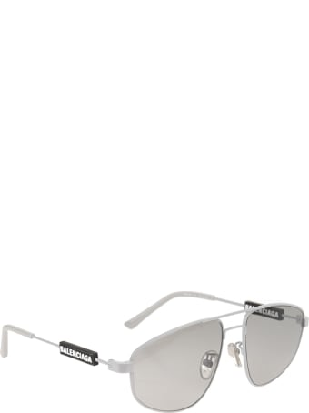 Balenciaga Silver Woman Tag Pilot Sunglasses