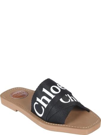 Chloé Logo Cross-strap Sliders