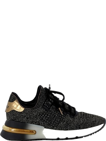 Ash Black/gold Fabric Sneakers
